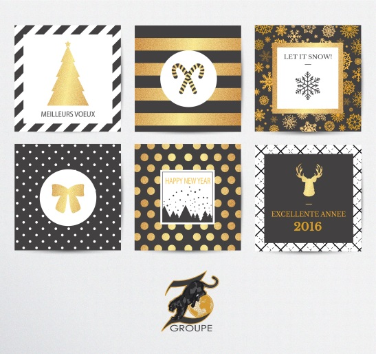 Cartes Nouvel An doré